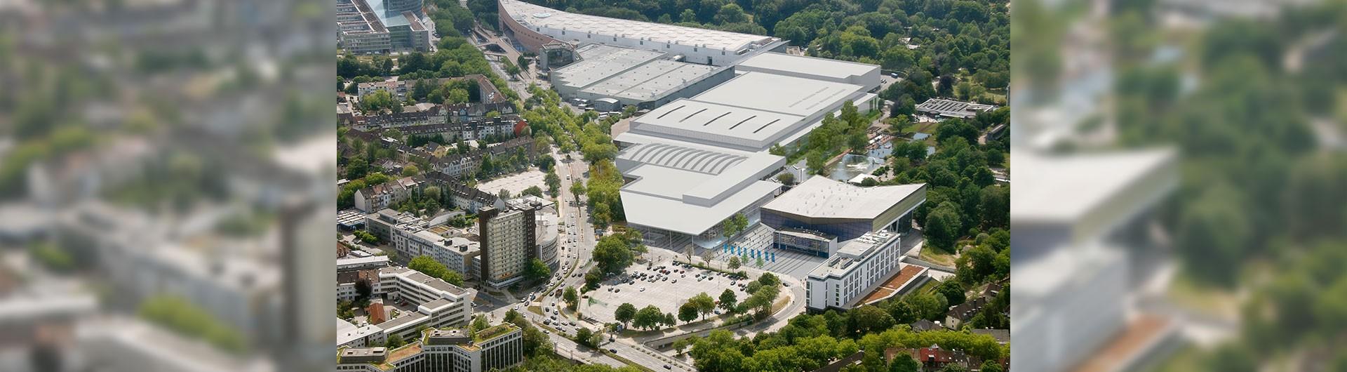 Luftbild der Neuen Messe Essen