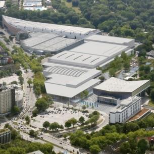 Luftbild des neuen Messegeländes